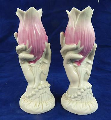 Pair Antique / Vintage Biscuit Parian Hand Tulip Vases Pink Part Glazed