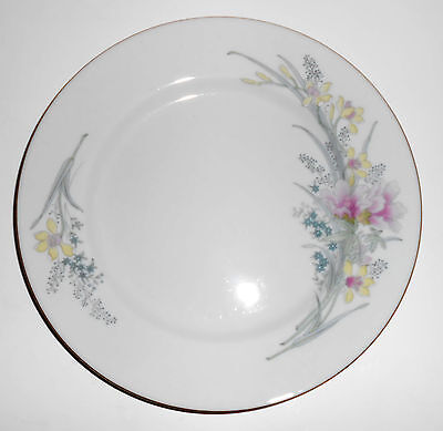 Jamestown China Porcelain Pink Yellow Floral Gold Rimmed Salad Plate
