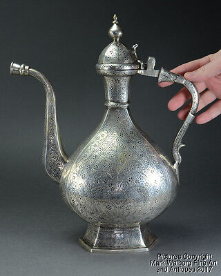 Indian Mughal Silver Ewer, Fine Engraved Floral Designs, 17th to 18th Century