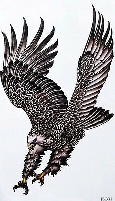 Black Eagle Temporary Tattoo Bird Fake Waterproof Transfer Sticker Art Body UK