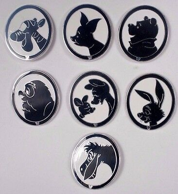 Seven Disney Hidden Mickey Pins - Winnie the Pooh and Friends on silhouette pins