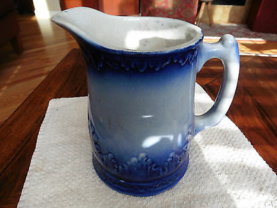 Anitique Flow Cobalt Blue And White Porcelain Pitcher - Age? - Very Good Cond!