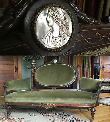 John Jelliff Renaissance Revival Victorian Rosewood sofa with Mother of Pearl