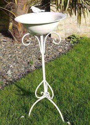 Vintage Shabby Chic White Metal Ornate Standing Bird Bath Feeder BN Garden Decor