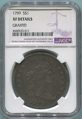 1799 Draped Bust Silver Dollar. NGC XF Details