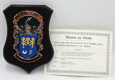 """FOGARTY FAMILY IRISH HERALDIC CREST COAT OF ARMS 8"""" WOODEN WALL PLAQUE with COA"""
