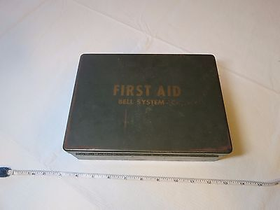 WWII era BELL SYSTEM DISASTER FIRST AID field KIT Lots of SUPPLIES vintage RARE