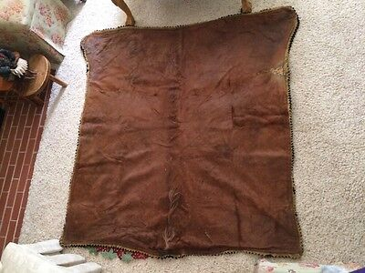 Large Vintage Horse Hide Carriage Blanket~Edes Robe Tanning Co Dubuque IA