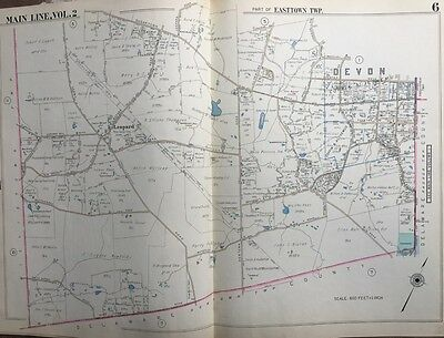 Orig 1950 Chester County Pa Easttown Township St. David's Church Atlas Map