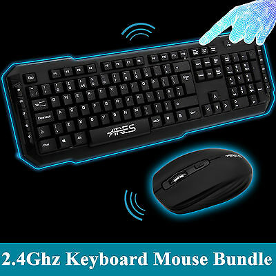 ARES T1 Optical Wireless Keyboard and Mouse Mice Bundles Combo USB Nano Receiver