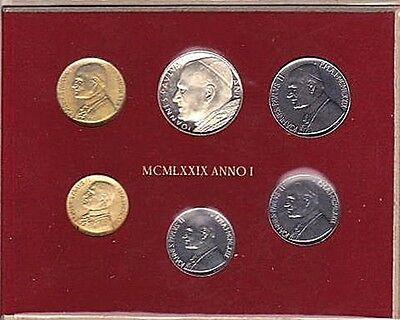 1979 Vatican POPE JOHN PAUL II silver mint set coins in official red cardboard