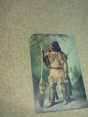 Antique1910 Native American Indian of The Great Lakes Vintage Old Postcard