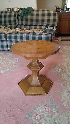 Vtg PAVANE by Tomlinson Burl Wood Accent Table Round Top Six Sided Pedestal Base