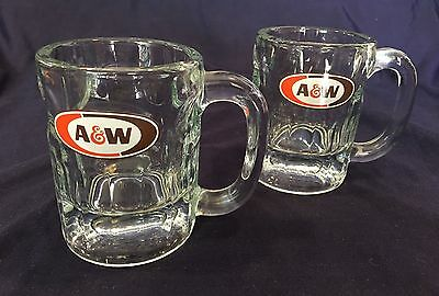 New Vintage Set Of (2) A&w Root Beer Float Glasses Mugs Heavy Thick Glass