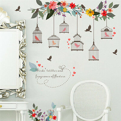 Black Birdcage Wall Sticker Wall Decal Living Room Bedroom Home Decoration Mural
