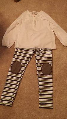 Hanna Anderson swiss dot shirt and patch knee pants size 7  (120)