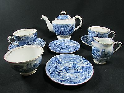 HM Sutherland Bone China Rural Scenes Pattern Tea for Two - 9 Piece Set