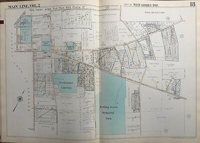 Orig 1950 Main Line, Chester Co. Pa, W. Goshen Twp Greenmount Cemetery Atlas Map