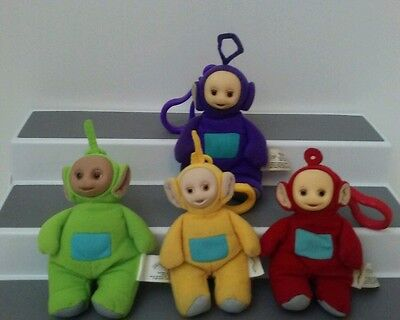 Teletubbies Finger Puppets Clip On Key Chain  Plush Toy  Burger King Lot of 4