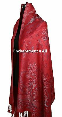 Large 2-Ply 100% Pashmina Cashmere Jacquard Floral Scarf Shawl Wrap, Red