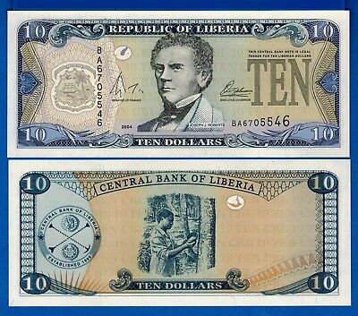 Liberia P-27b Ten Dollars Year 2004 Uncirculated FREE SHIPPING
