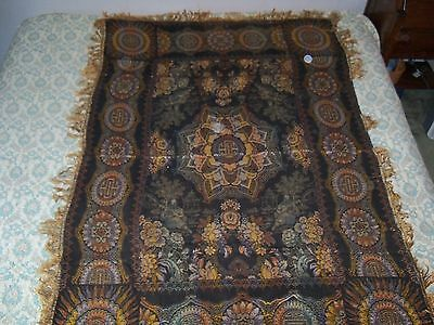"""Antique Brocade 46""""x40"""" Silk Table Cloth Piano Scarf China Chinese Scene Vintage"""