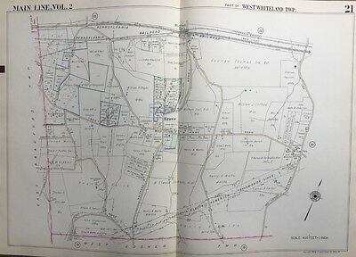 Orig 1950 Chester County Pa West Whiteland Twp & Station Grove, Plat Atlas Map