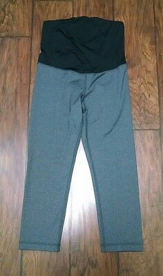 New Be Maternity Xsmall Active Crossover Over Belly Gray Black Yoga Capri Pants