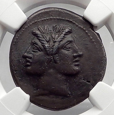Roman Republic QUADRIGATUS Anonymous Authentic Ancient Coin JANUS NGC XF i61064