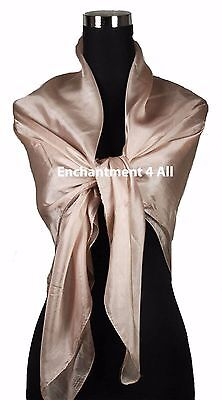 "New Extra Large Square 42""x42"" Luxurious 100% Pure Silk Scarf Shawl Wrap, Blush"