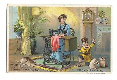 Household Sewing Machine Trade Card - Woman Sewing Child Plays with Cats