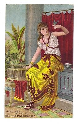 Domestic Sewing Machine Trade Card - Woman with Bird