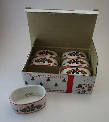 Christmas Heritage Set of 6 Fine China Napkin Rings Angels and Bells