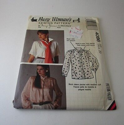 McCalls Busy Woman's Sewing Pattern Blouse Uncut Vintage 1989 (size 20)