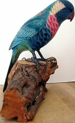 Wood Carved Tropical Bird On A Driftwood Base