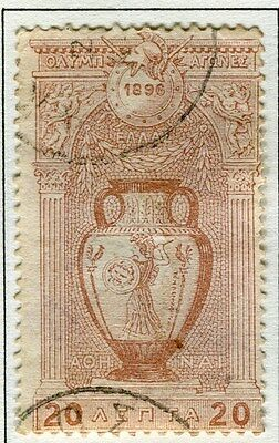GREECE;  1896 classic Olympics issue fine used 20l. value
