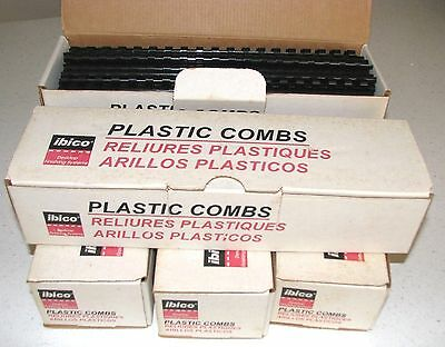 ibico Black Plastic Binding Combs, size 5/16,40 Sheets Capacity. 500 combs total
