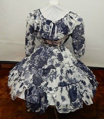 2 Piece Navy And White Floral Square Dance Dress