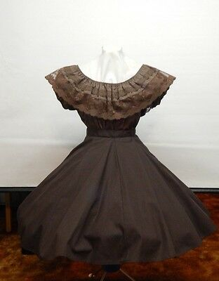 2 Piece Brown And Lace Square Dance Dress