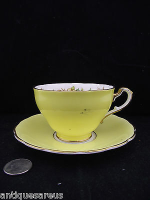 Yellow Floral Bone China Staffordshire   Cabinet Tea Cup And Saucer