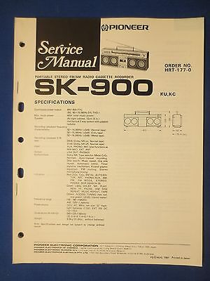 Pioneer Sk-900 Boombox Service Manual Original Factory Issue The Real Thing