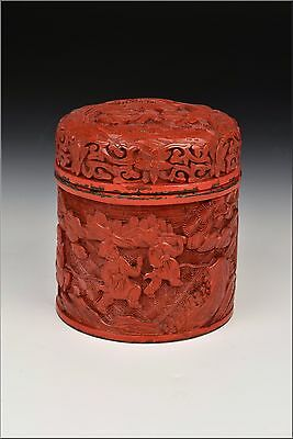 19th Century Chinese Cinnabar Cylinder Form Covered Box w/ Characters