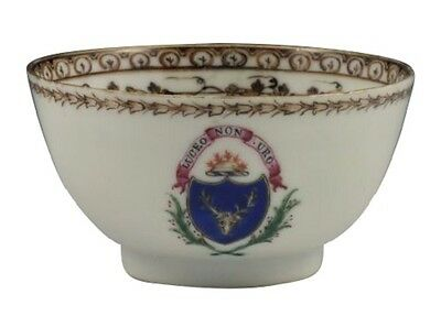 Wonderful 18thC Chinese Export Porcelain Handleless Armorial Tea Cup