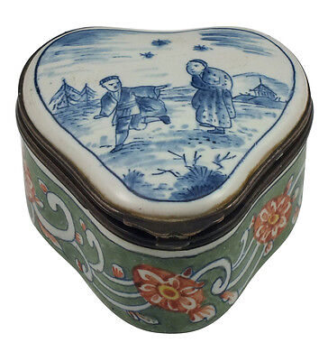 Signed 19thC Delft Pottery Patch Box