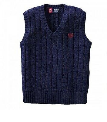 Chaps Boys Cable Knit Sweater Vest Solid Cotton Navy Kids size 4 NEW