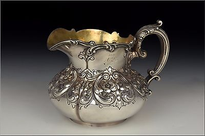 Dominick & Haff Sterling Silver Creamer with Repousse Floral Designs