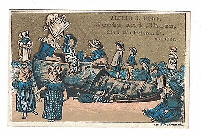 Old Woman Who Lived in a Shoe Victorian Trade Card Roxbury, Mass