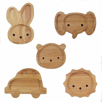 Kids Dinner Plate - Divided Style - Rabbit, Lion, Bear, Elephant or Car Wooden