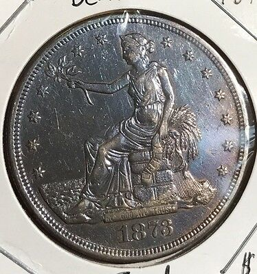1873 Silver Trade Dollar. Beautiful Toned Collector Coin For Your Collection.