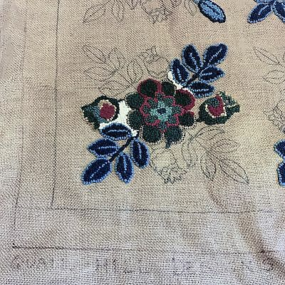 QUAIL HILL DESIGNS Eliza 103-A RUG Hooking Unfinished Floral Burlap Needlecraft